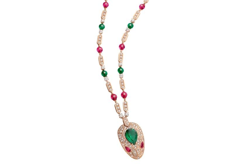BVLGARI SERPENTI系列 頂級祖母綠與紅碧璽鑽石項鍊