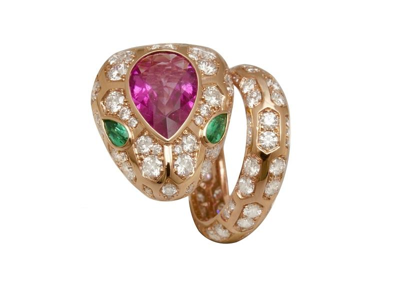 BVLGARI SERPENTI系列 頂級祖母綠與紅寶石鑽石戒指