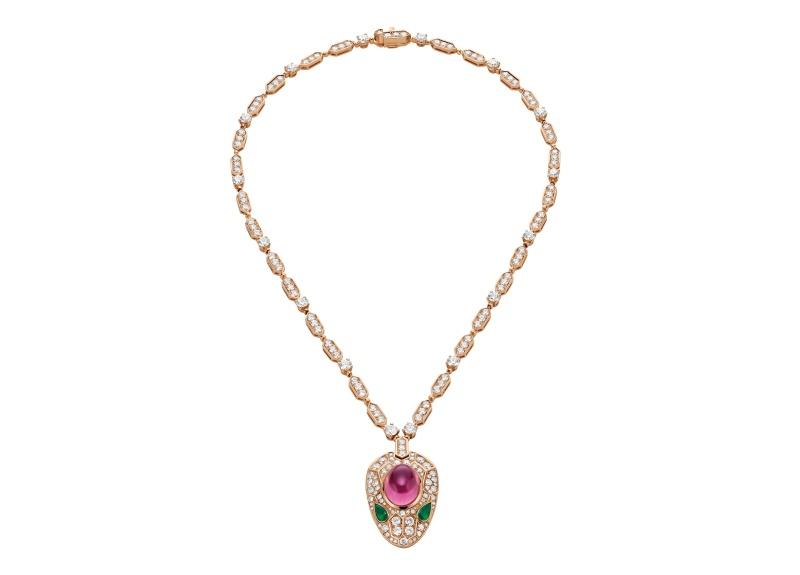 BVLGARI SERPENTI系列 頂級祖母綠與粉紅碧璽鑽石項鍊