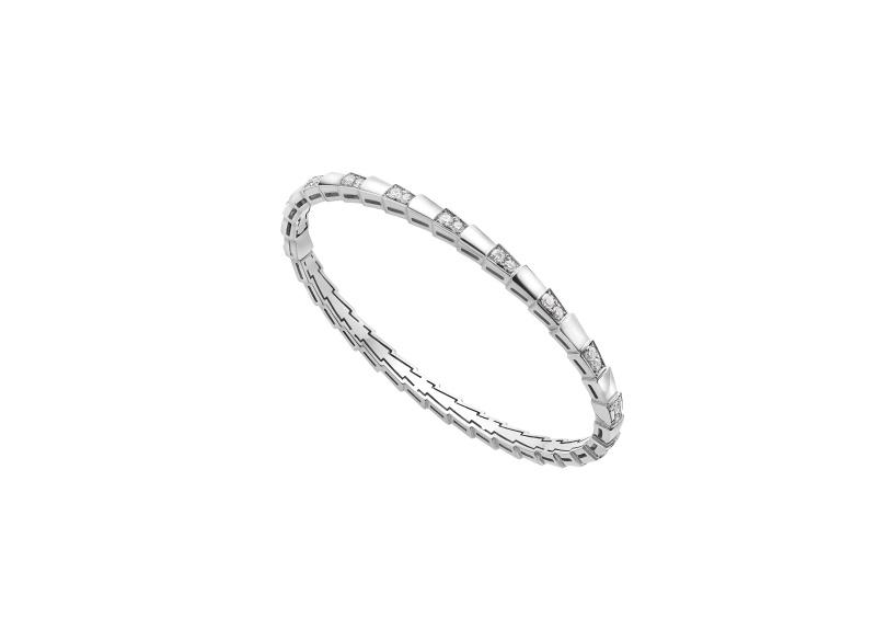 BVLGARI SERPENTI系列 VIPER BRACELET白K金鑲嵌鑽石手環,參考售價約NT335,100
