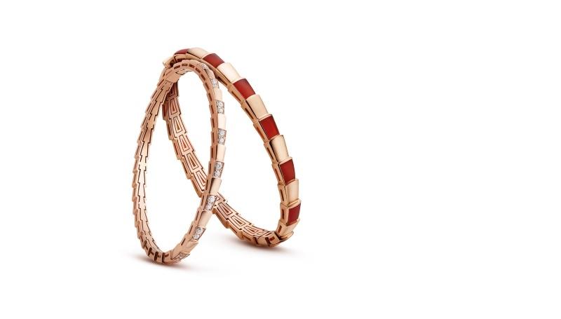 BVLGARI SERPENTI系列 VIPER BRACELET玫瑰金鑲嵌鑽石手環與玫瑰金紅玉髓手環