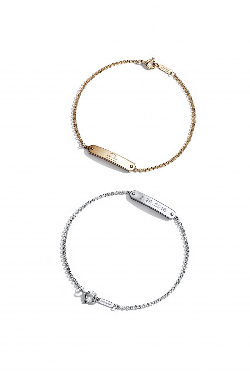 (上至下)Tiffany 18K金吊牌手鍊 NT22,000,Tiffany 純銀吊牌手鍊 價格店洽。