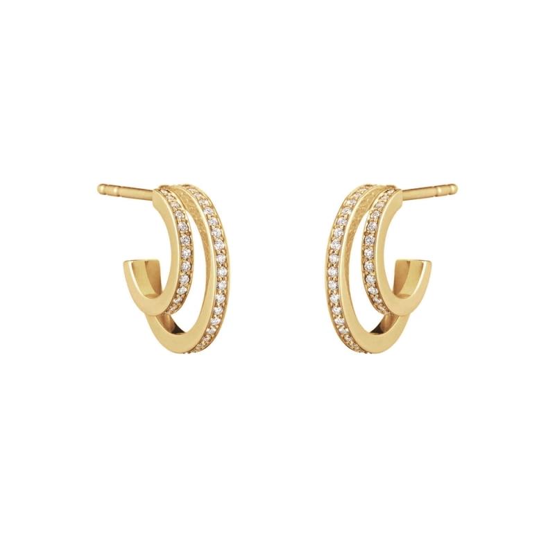 GEORG JENSEN_HALO 18K黃金鋪鑽耳環 參考價NT$58,000