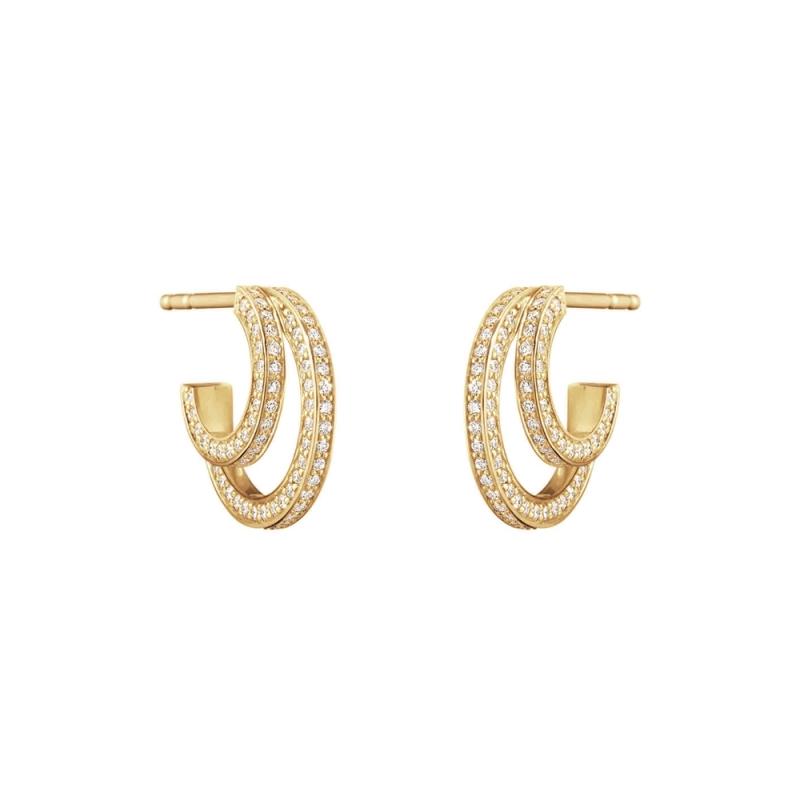GEORG JENSEN_HALO 18K黃金鋪鑽耳環 參考價NT$78,000