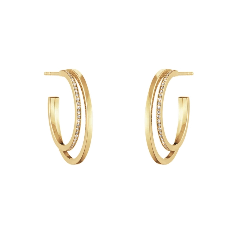 GEORG JENSEN_HALO 18K黃金鋪鑽耳環