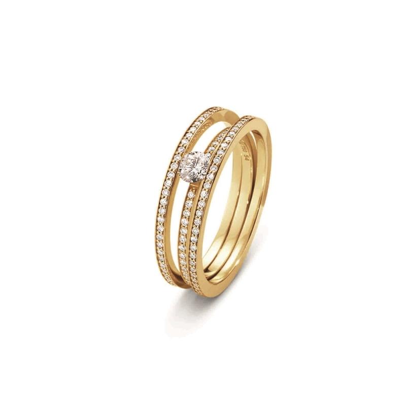 GEORG JENSEN_HALO 18K黃金鑽戒鑲嵌單顆美鑽