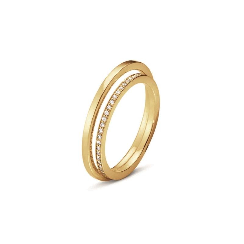 GEORG JENSEN_HALO 18K黃金鋪鑽戒指 參考價NT$46,500