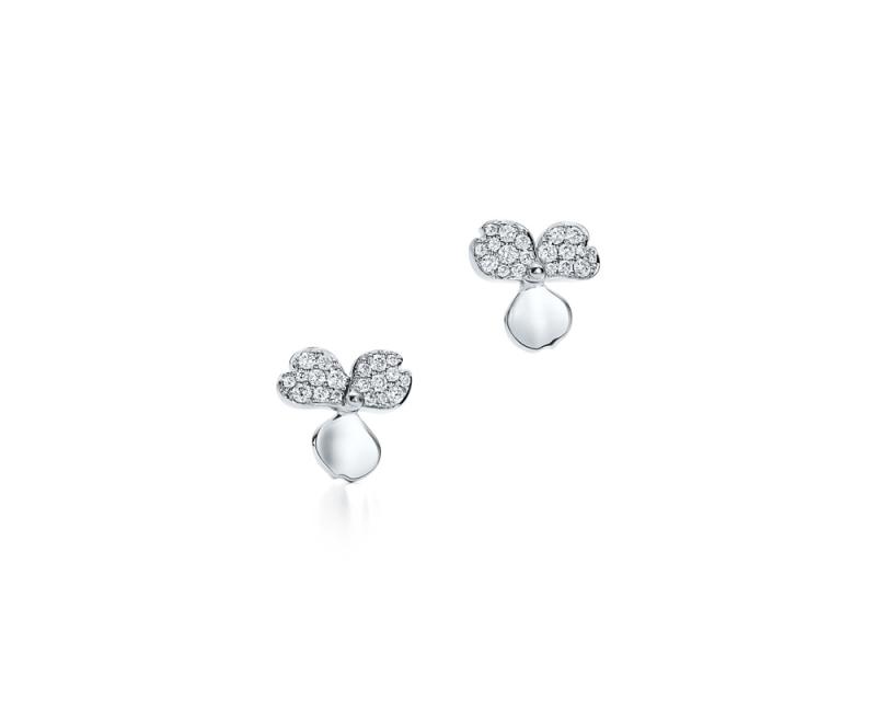 Tiffany Paper Flowers 系列 - 花瓣設計鉑金鑲鑽耳環 NT$174,000