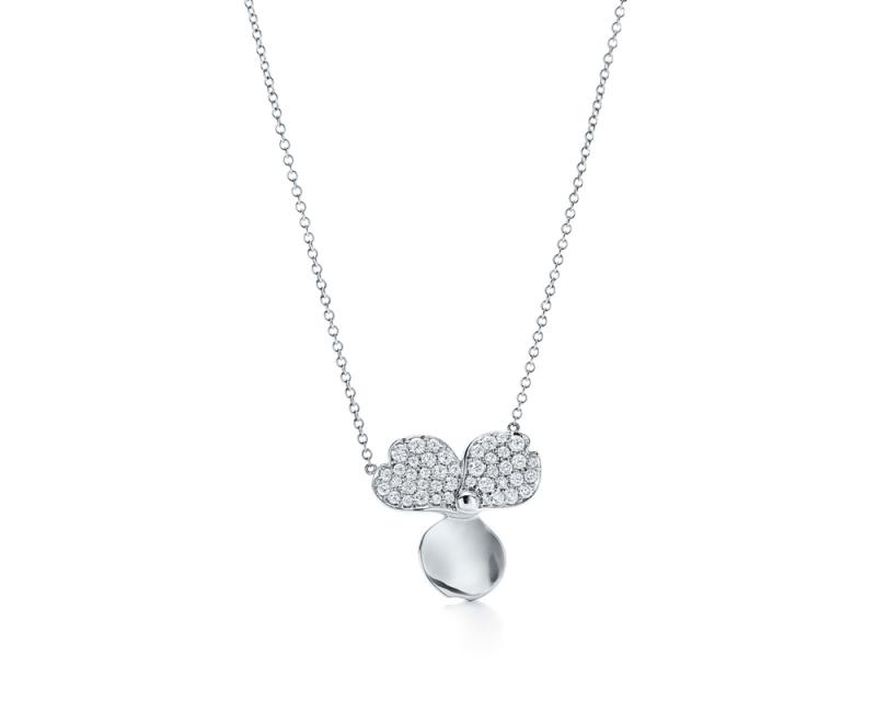 Tiffany Paper Flowers 系列 - 花瓣設計鉑金鑲鑽與垂墜鑽石項鍊 NT$510,000