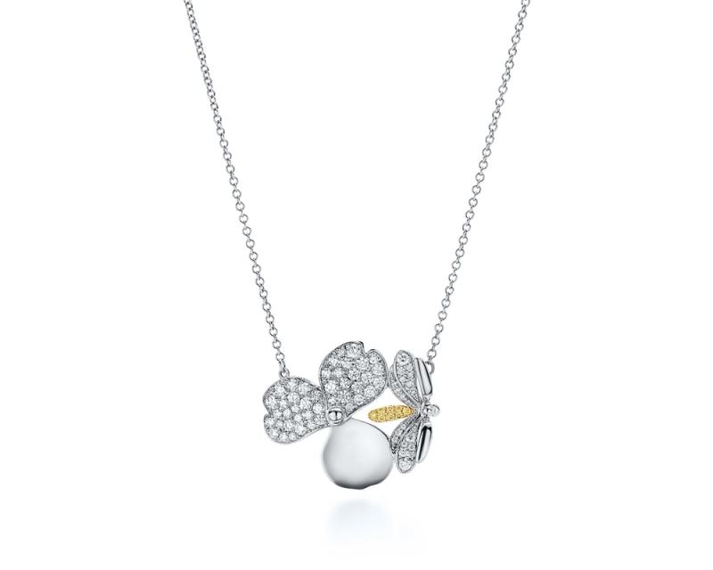 Tiffany Paper Flowers 系列 - 花瓣與螢火蟲設計鉑金鑲嵌黃鑽與鑽石項鍊