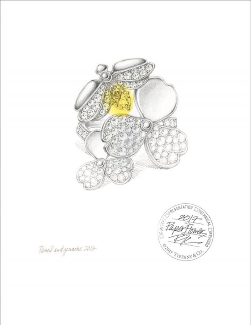 Tiffany Paper Flowers 系列 - 珠寶手繪稿