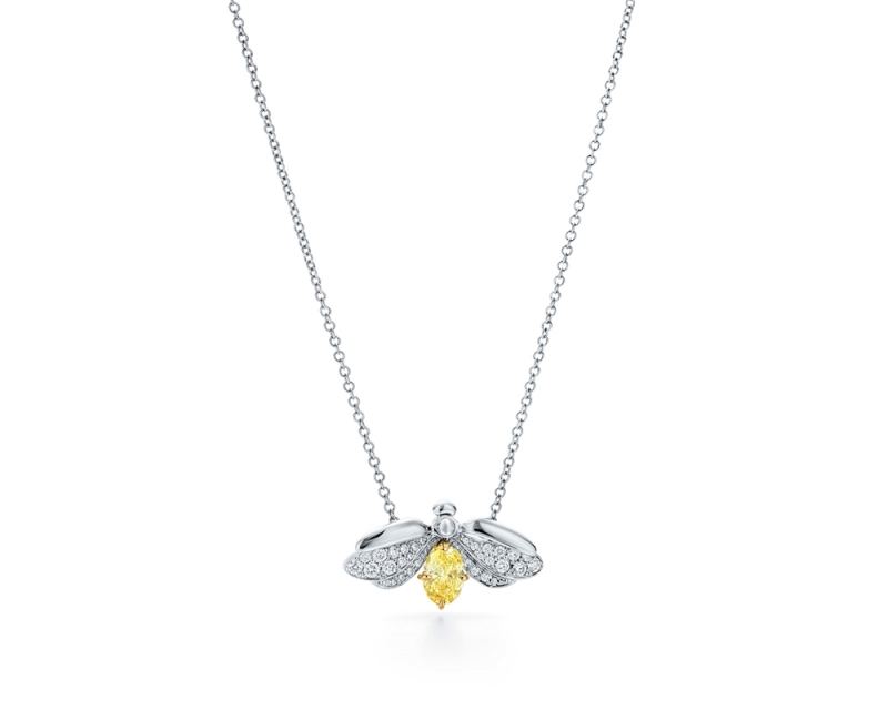 Tiffany Paper Flowers 系列 - 螢火蟲設計鉑金鑲嵌黃鑽與鑽石項鍊 價格店洽