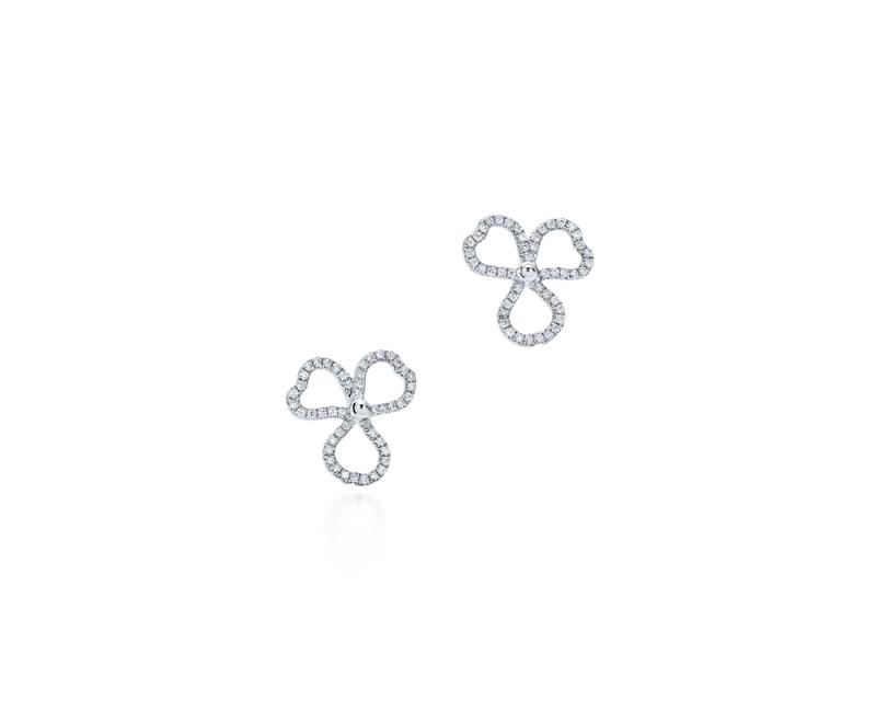 Tiffany Paper Flowers 系列 - 鏤空花瓣設計鉑金鑲鑽耳環 NT$152,000