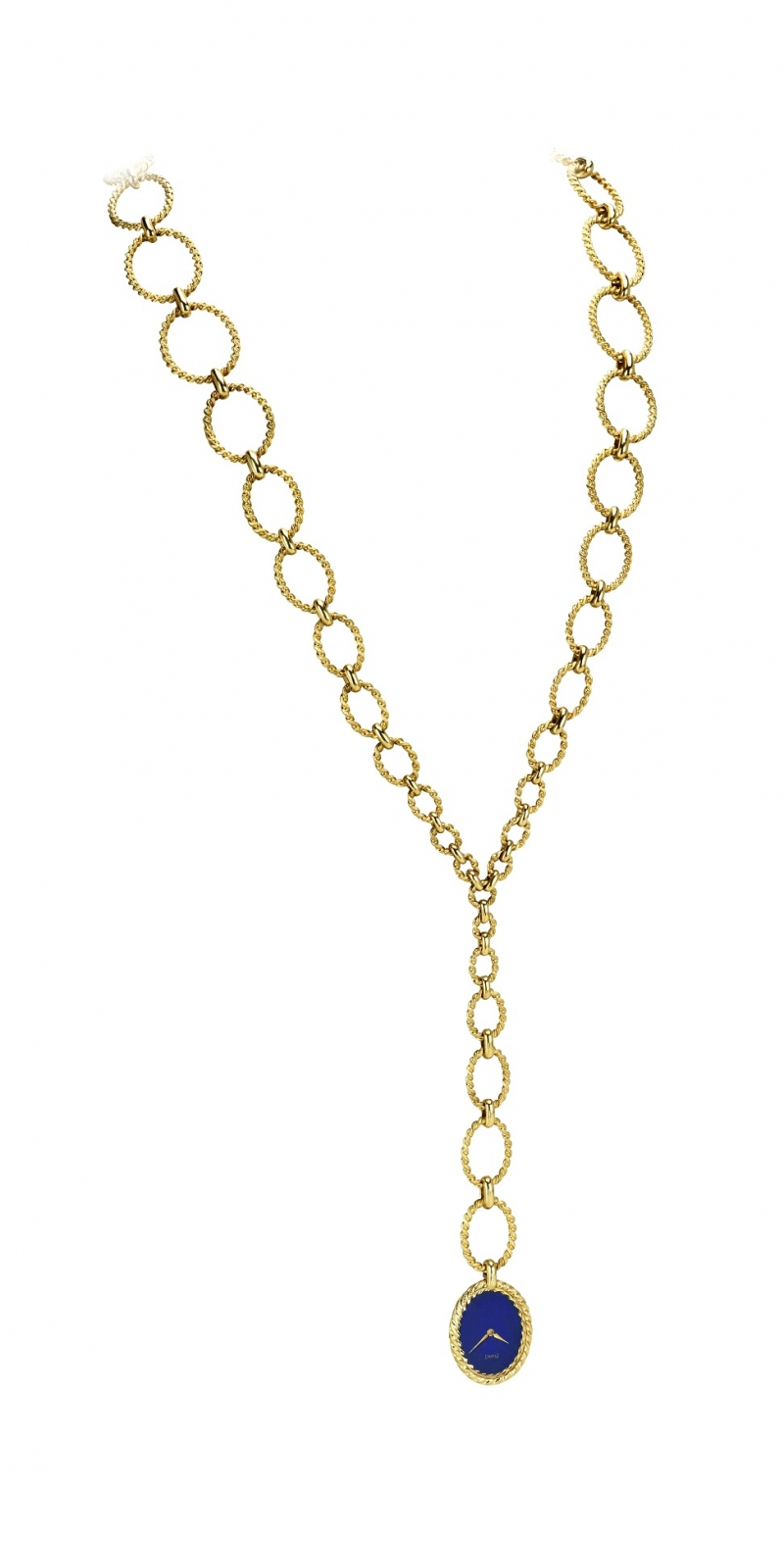 項鍊錶 伯爵古董項鍊錶 黃金材質項鍊由麻花金質線圈串接而成青金石錶盤 搭載伯爵製6P手動上錬機械機芯1972年 伯爵傳承典藏 6865 P63