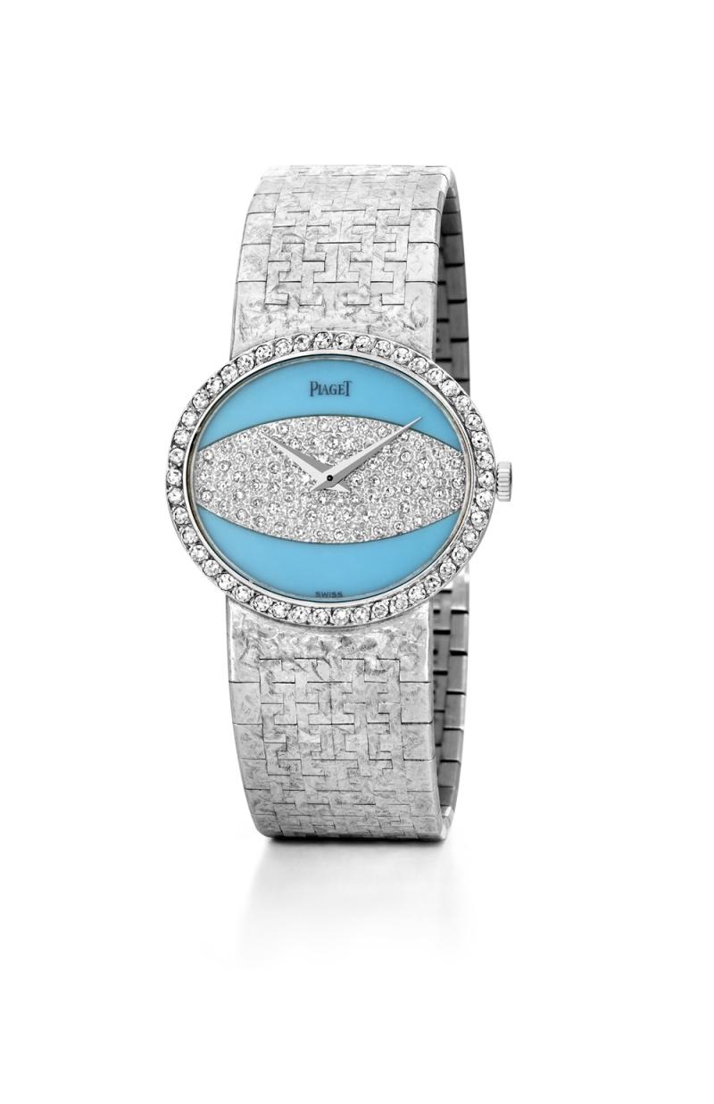 寶石錶盤腕錶 伯爵古董珠寶腕錶18K白金綠松石與鑽石錶盤 鑲嵌46顆明亮型切割鑽石(約0.59克拉) 搭載伯爵傳奇9P超薄手動上錬機械機芯 1977年 伯爵傳承典藏 9805 A36