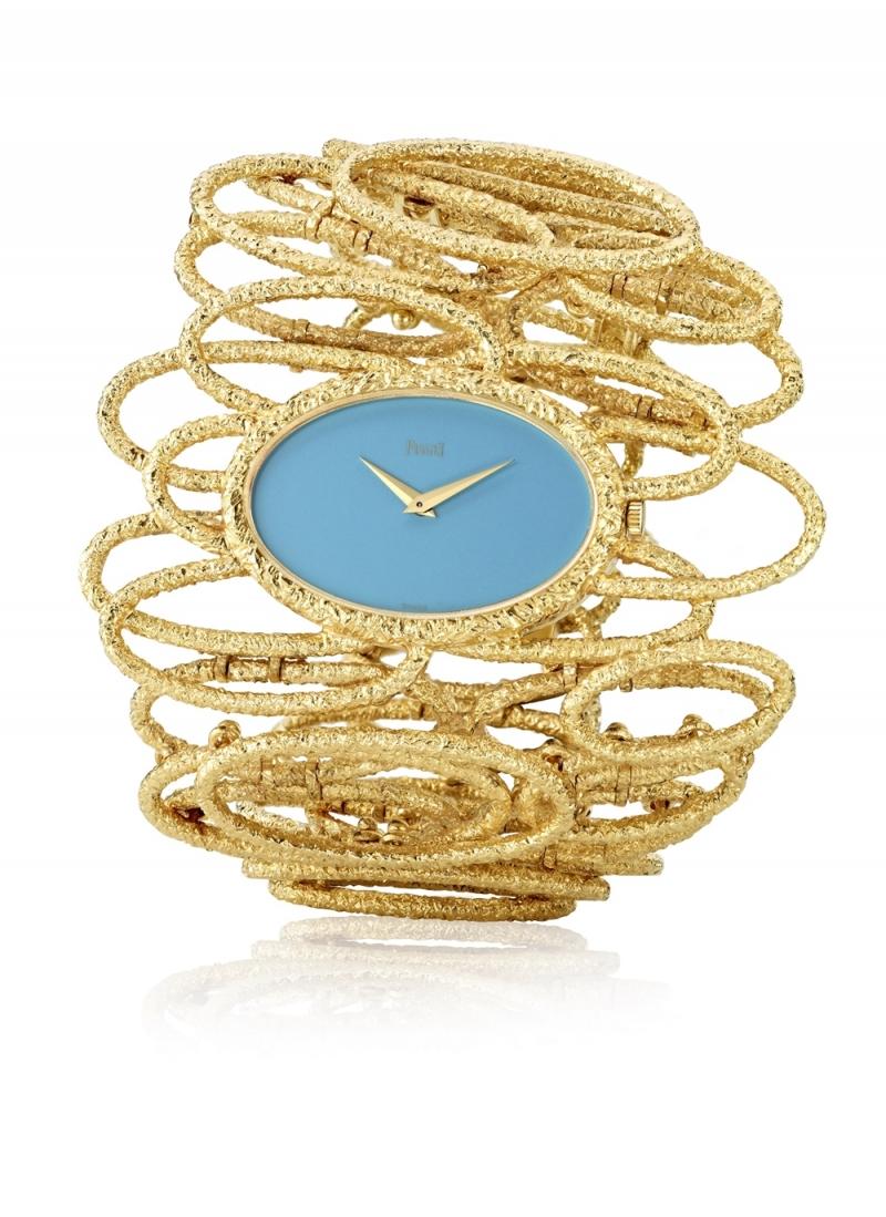 手鐲錶 伯爵古董手鐲腕錶 黃金材質綠松石錶盤 搭載伯爵傳奇9P超薄手動上錬機械機芯 1971年 伯爵傳承典藏 9850 D72