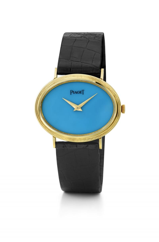 寶石錶盤腕錶 伯爵古董腕錶 黃金材質 綠松石錶盤 搭載伯爵傳奇9P超薄手動上錬機械機芯 絹質錶帶 1989年 伯爵傳承典藏 9854