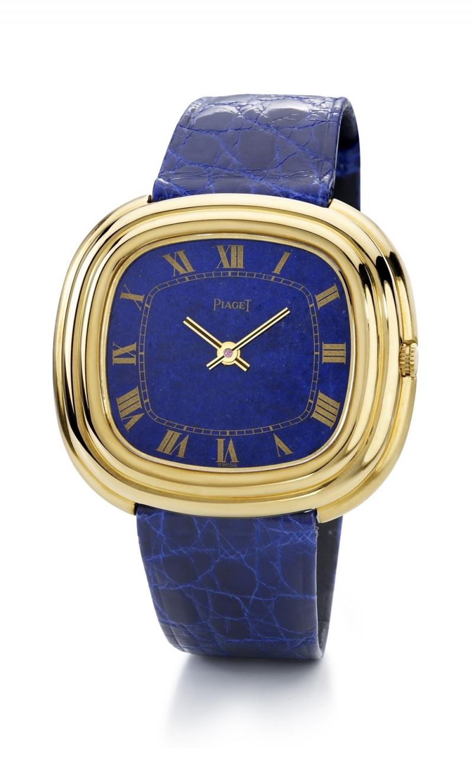 伯爵古董腕錶黃金材質 青金石錶盤 搭載Beta-21石英機芯 仿鱷魚皮錶帶 1969年 伯爵傳承典藏 14502