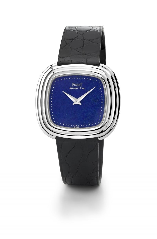 伯爵古董腕錶 18K白金青金石錶盤 搭載伯爵製7P超薄石英機芯 仿鱷魚皮錶帶 1976年 伯爵傳承典藏 75101