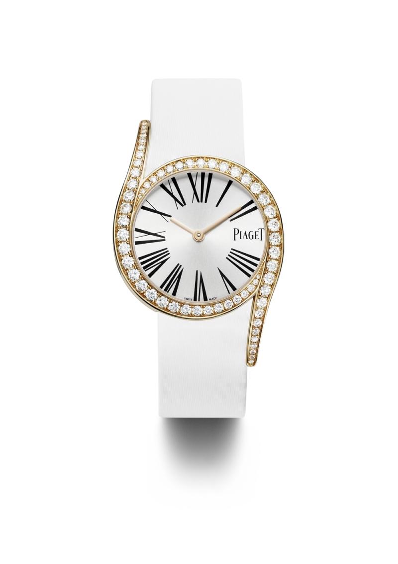 (現代款) Limelight Gala 系列腕錶 32mm,18K玫瑰金 錶殼鑲嵌62顆圓形美鑽(約1.75克拉) 錶釦鑲嵌單顆圓形美鑽(約0.01克拉) 銀色錶盤,搭配黑色羅馬數字時標 搭載伯爵製690P石英機芯 絹質錶帶,針扣式錶釦 G0A38161台幣參考價格1,040,000