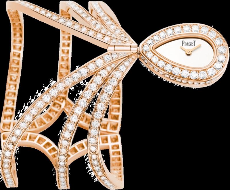 (現代款) Couture Précieuse系列手鐲腕錶 18K玫瑰金,錶殼鑲嵌297顆圓形美鑽(約9.7克拉) 銀色錶盤 搭載伯爵56P石英機芯 G0A38202台幣參考價格6,950,000