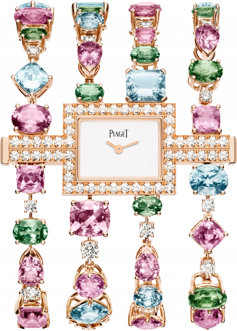 (現代款) Limelight高級珠寶系列手鐲腕錶 18K玫瑰金,錶殼鑲嵌370顆圓形美鑽(約9.4克拉) 錶錬鑲嵌40顆彩色碧璽 (40.96克拉)及18顆海藍寶石(約21.92克拉) 變革自神秘錶,設計於手腕內側閱讀時間 搭載伯爵製56P石英機芯 G0A39285台幣參考價格14,300,000