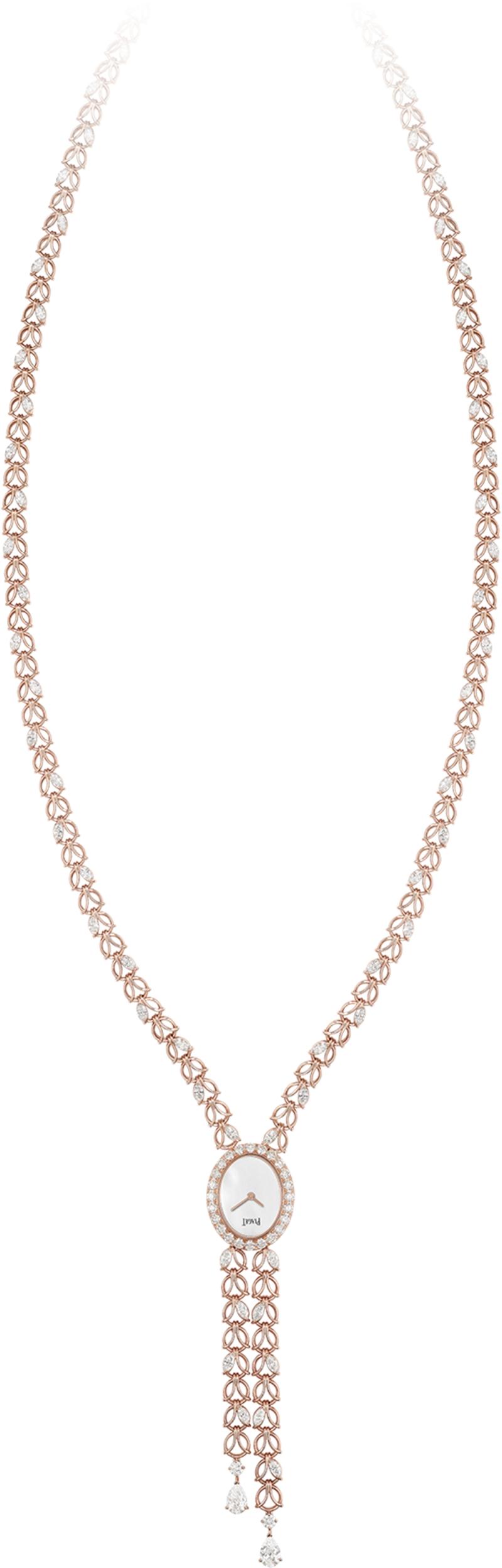 (現代款) Sunny Side of Life 高級珠寶系列項鍊錶 18K玫瑰金,錶殼鑲嵌24顆美鑽(約1.80克拉) 白色珍珠母貝錶盤 項鍊鑲嵌67顆美鑽(約9.28克拉) 限量款式 搭載伯爵製56P石英機芯 G0A41243台幣參考價格 5,450,000