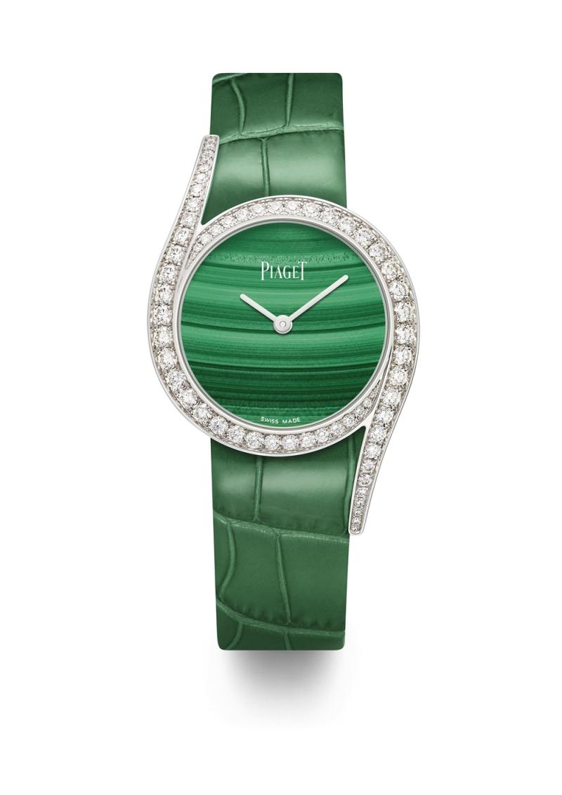 (現代款) Limelight Gala系列腕錶 32mm,18K白金 錶殼鑲嵌62顆圓形美鑽 (約1.75克拉) 孔雀石錶盤 搭載伯爵製690P石英機芯 綠色鱷魚皮錶帶,針扣式錶釦 G0A43160台幣參考價格 1,260,000