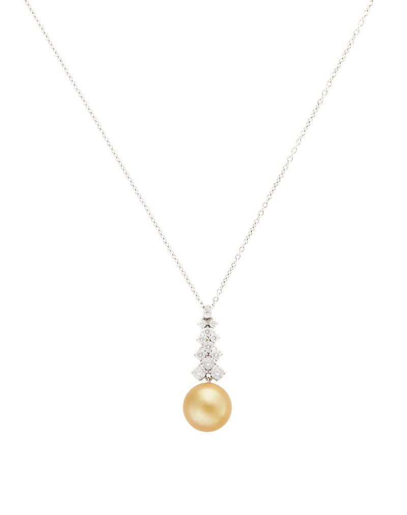 MIKIMOTO 南洋黃金珍珠高級珠寶鑽石墜鍊