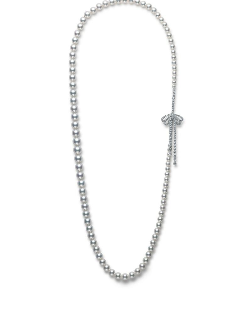 MIKIMOTO Essential Collection 南洋珍珠高級珠寶鑽石蝴蝶結釦飾長項鍊