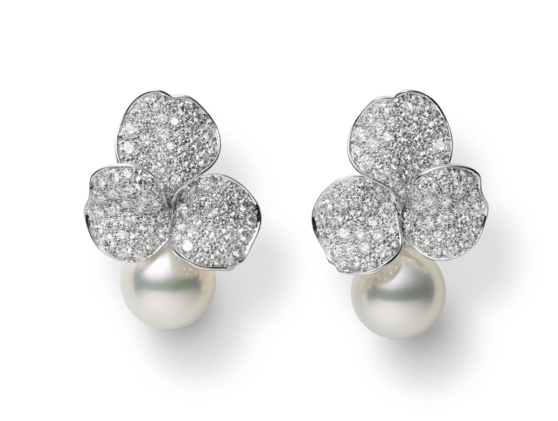 MIKIMOTO Les Pétales Place Vendôme 南洋珍珠鑽石玫瑰花瓣頂級珠寶耳環