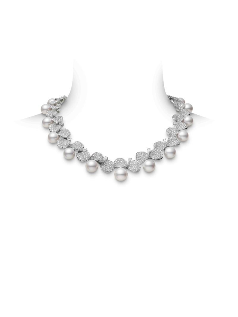 MIKIMOTO Les Pétales Place Vendôme 南洋珍珠鑽石玫瑰花瓣頂級珠寶項鍊