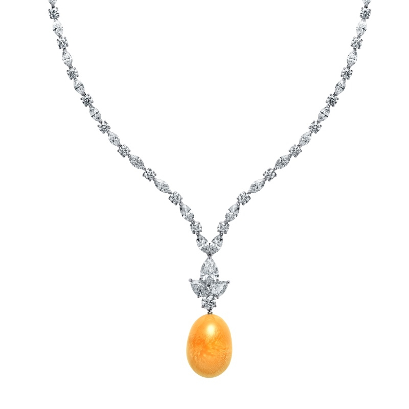 MIKIMOTO Natural Pearl Collection 美樂珍珠頂級珠寶鉑金鑽石項鍊