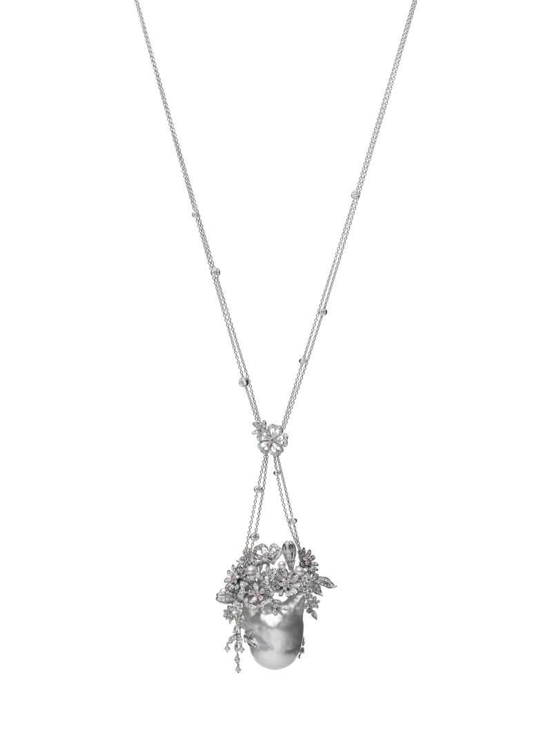 MIKIMOTO Praise to Nature Collection 巴洛克珍珠頂級珠寶鑽石墜鍊