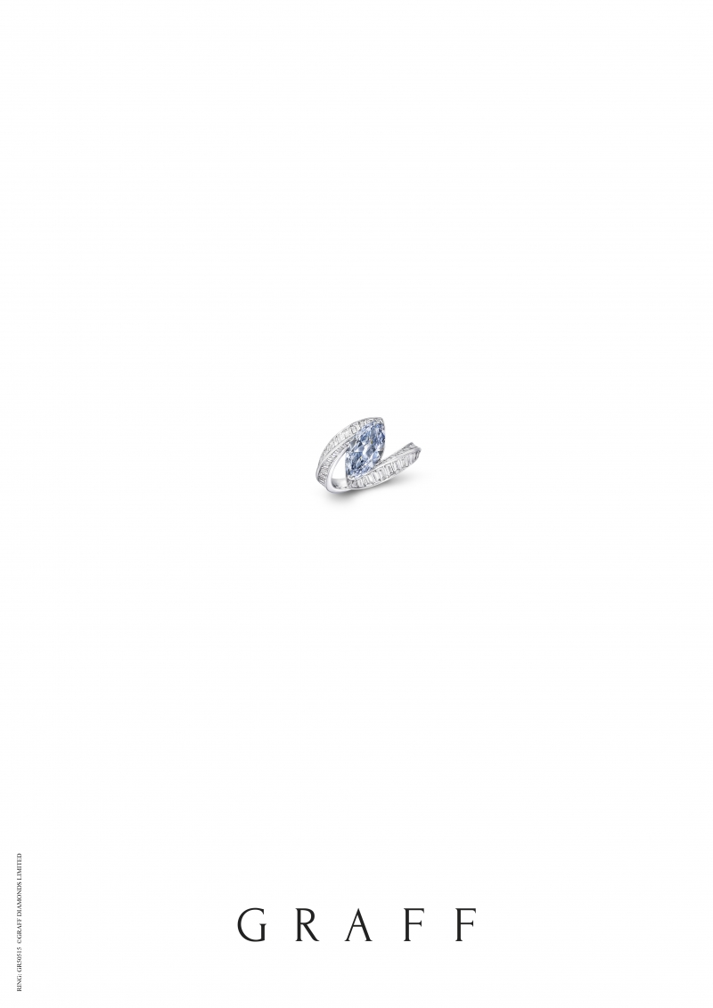 格拉夫2.03克拉馬眼形藍鑽戒指