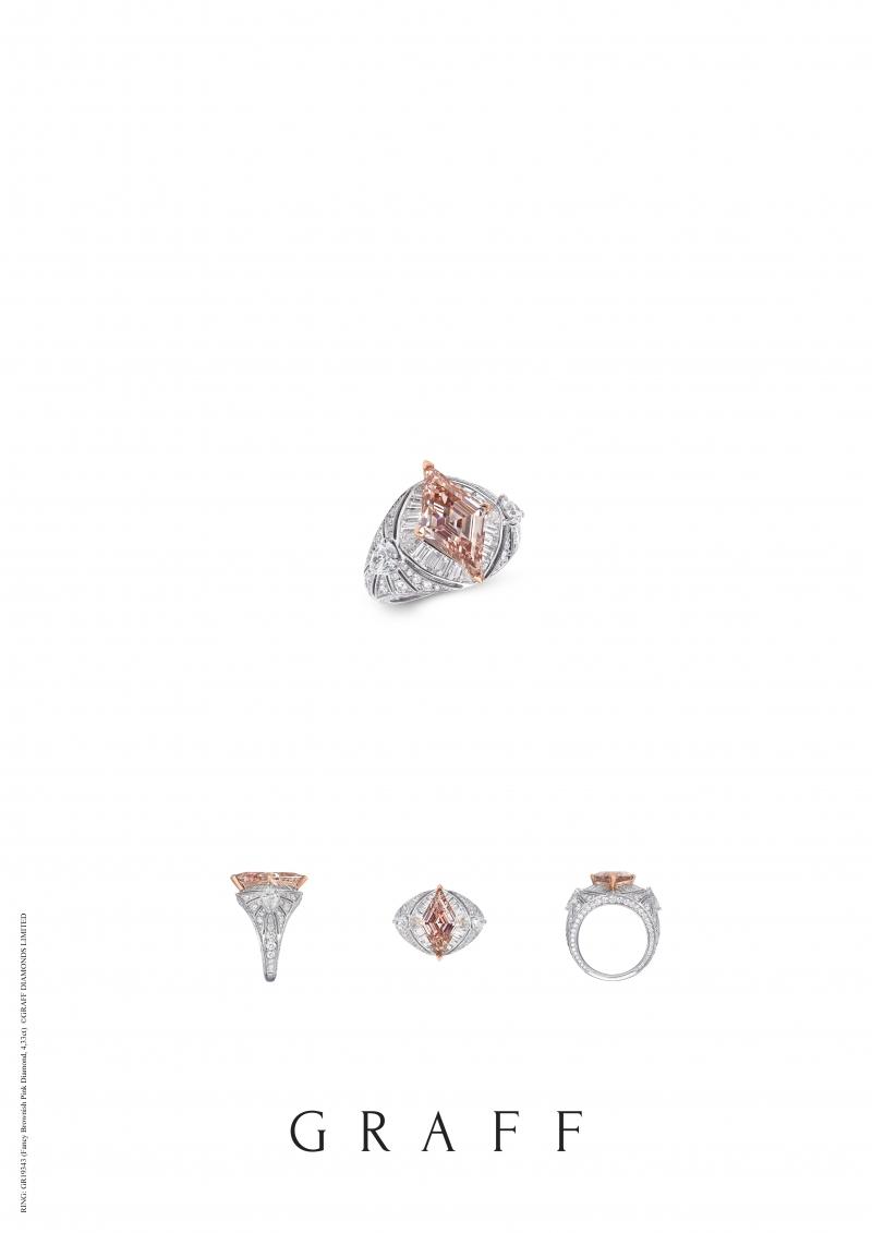 格拉夫4.33克拉菱形粉紅鑽和白鑽戒指,鑽石共重7.63克拉