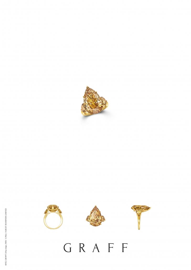 格拉夫12.98克拉梨形橘黃鑽戒指