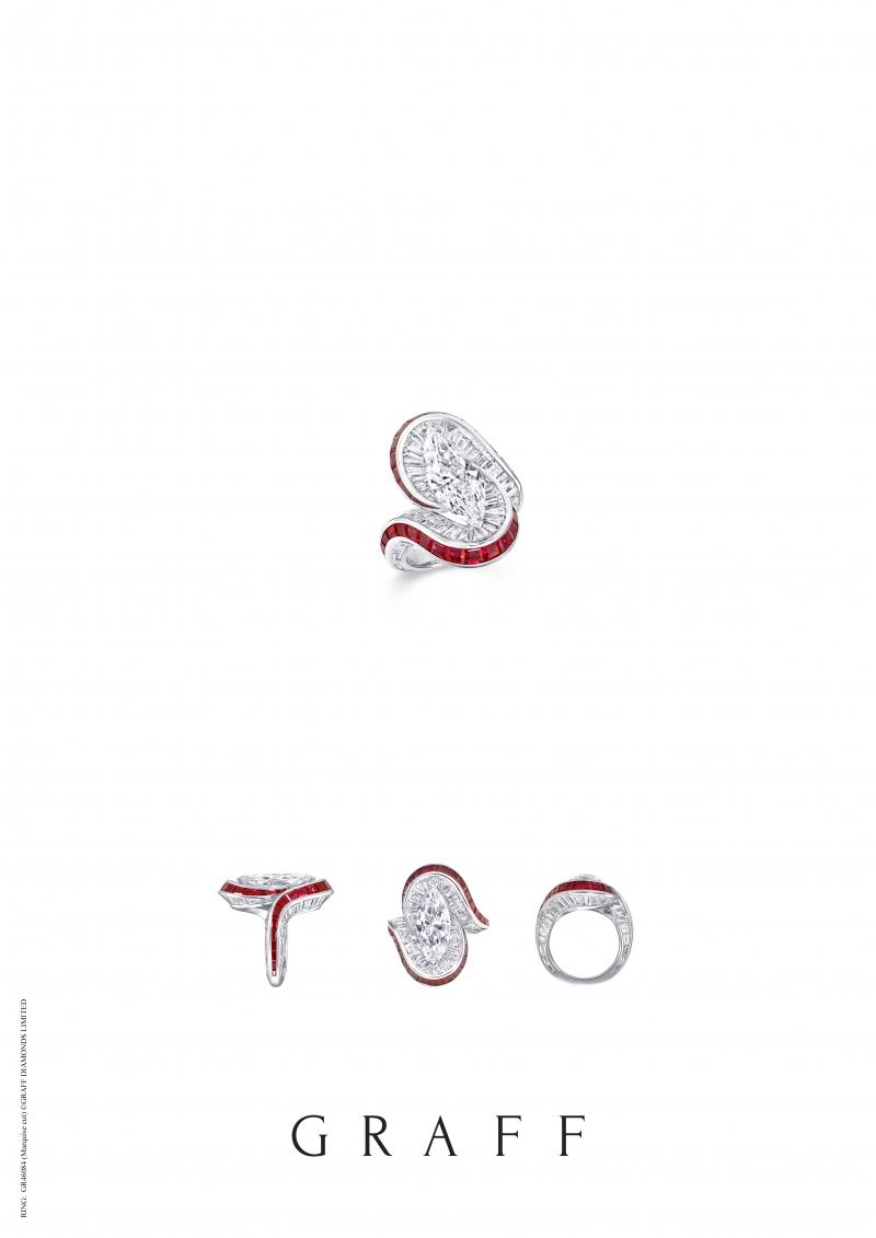 格拉夫3.49克拉馬眼形切割鑽石和紅寶石戒指,鑽石共重10.47克拉,紅寶石共重3.38克拉