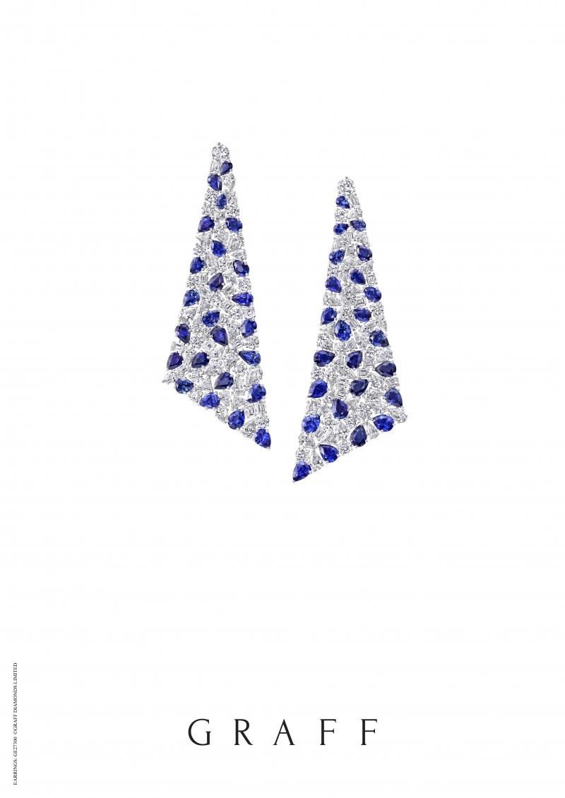 格拉夫多形切割藍寶石和鑽石耳環,藍寶石共重47.39克拉,鑽石共重52.24克拉
