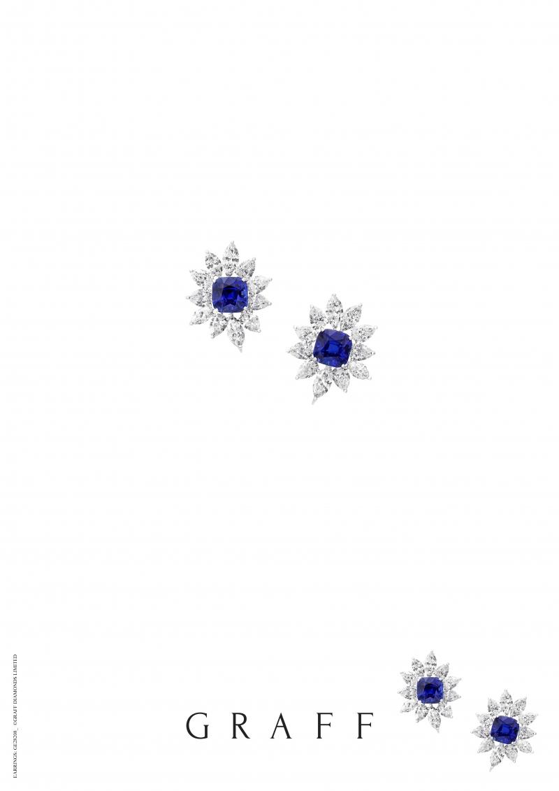 格拉夫枕形切割藍寶石和鑽石耳環,藍寶石共重17.25克拉,鑽石共重16.39克拉