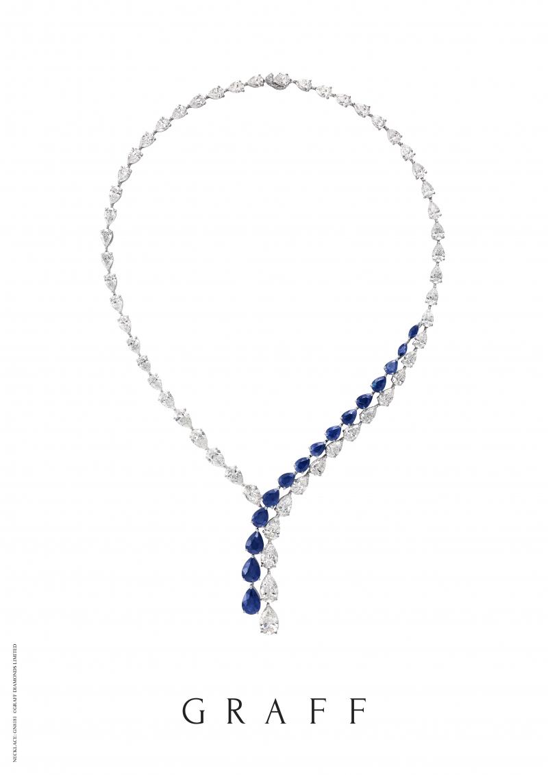 格拉夫梨形藍寶石和鑽石項鏈,藍寶石共重17.32克拉,鑽石共重40.54克拉 RGN479