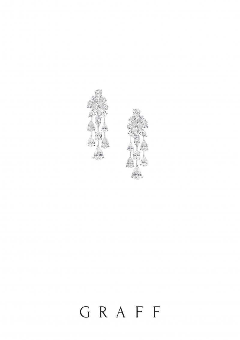 格拉夫多形切割鑽石耳環,鑽石共重25.75克拉