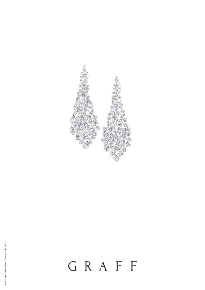 格拉夫Carissa系列多形切割鑽石耳環,鑽石共重41.70克拉