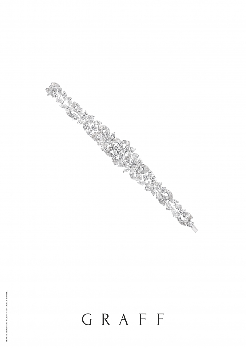 格拉夫Peony系列多形切割鑽石手鏈,鑽石共重33.26克拉