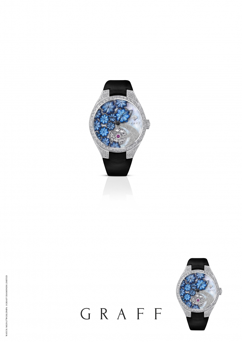 GRAFF Floral Automatic watch set with blue MOP, total diamonds 4.49 carats