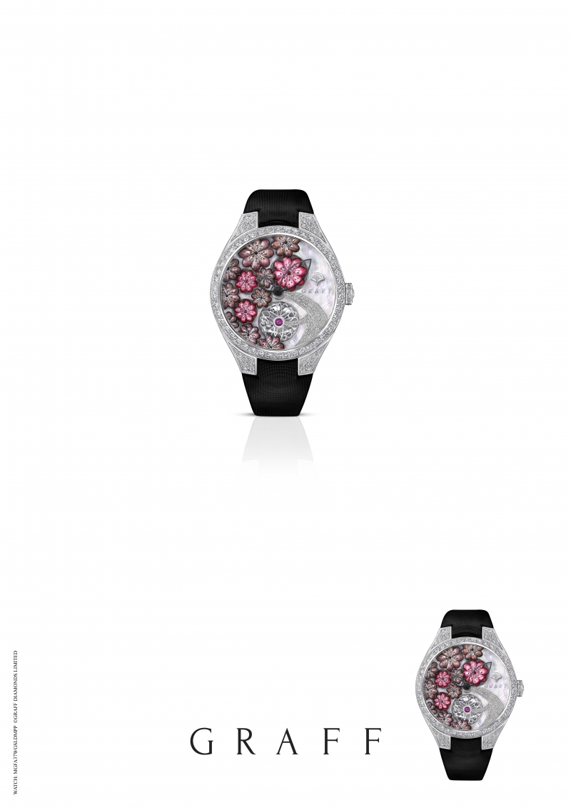 GRAFF Floral Automatic watch set with pink MOP, total diamonds 4.49 carats