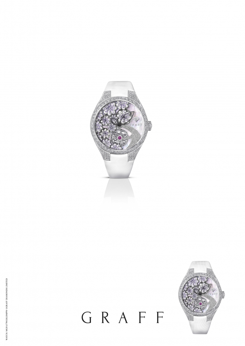 GRAFF Floral Automatic watch set with white MOP, total diamonds 4.49 carats