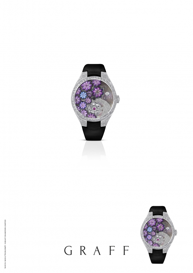 GRAFF Floral Automatic watch set with purple MOP, total diamonds 4.49 carats