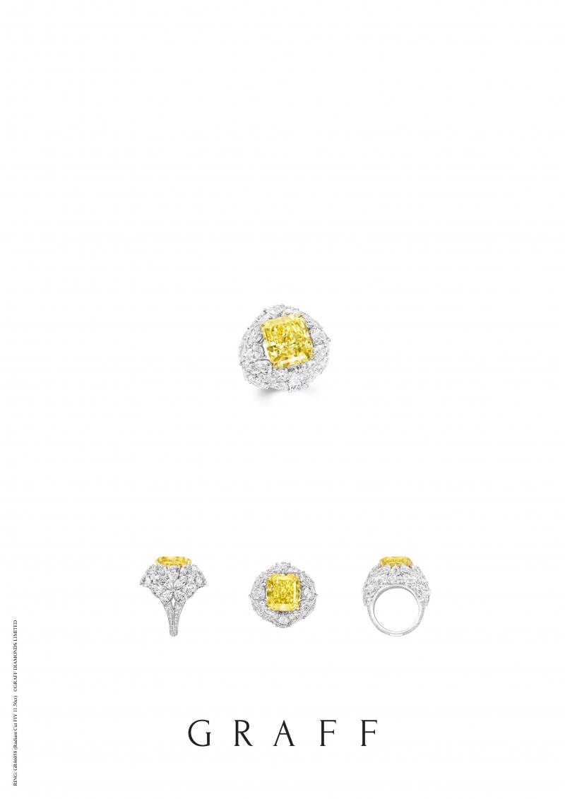 格拉夫11.50克拉雷地恩形切割黃鑽和白鑽戒指,鑽石共重23.43克拉