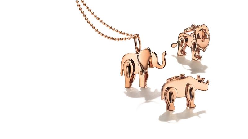 Tiffany 2018 Save the Wild系列(上至下) 獅子、大象、犀牛18K玫瑰金迷你吊墜 NT$22,000(不含項鍊)
